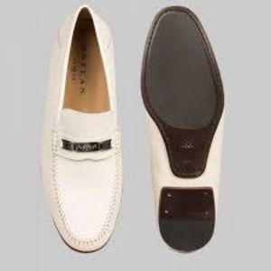 Mezlan Hutton Horse-Bit Bone Leather Loafers
